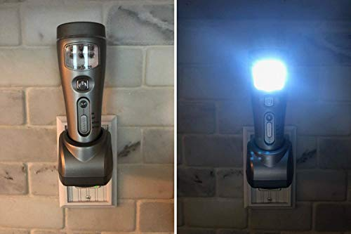 Capstone 4-in-1 Eco-I-Lite, Rechargeable LED Emergency Flashlight, Night Light, Power Failure and Work Light (2 Pack) – 16 LED Lamp, Lithium-Ion Battery, Ideal for Blackouts/Weather Emergencies