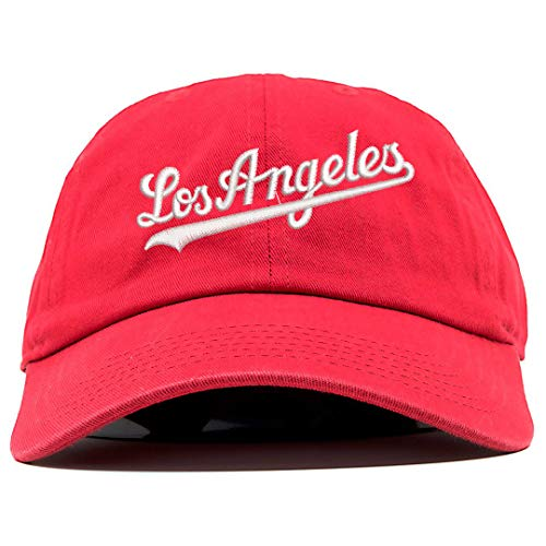 Los Angeles Cursive Logo Embroidered Low Profile Soft Crown Unisex Baseball Dad Hat RED]()
