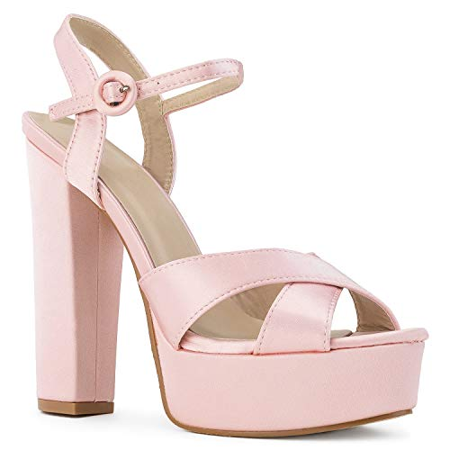 RF ROOM OF FASHION Women's Open Toe Platform Chunky High Heel Dress Pumps Sandals Pink Size.9