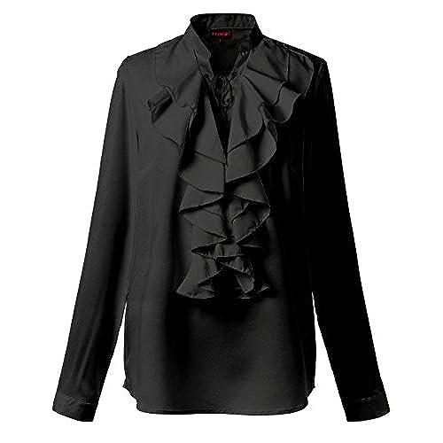 Black Ruffle Blouse: Amazon.com