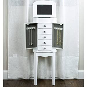 Amazoncom Hives Honey Meg Jewelry Armoire in White Home Kitchen