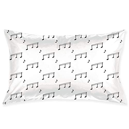 YABABY Pillow Sham,Musical Notes Theme Melody Sonata Singing Song Clef Tunes Hand Drawn Style Pattern,Decorative Standard Queen Size Printed Pillowcase 30 X 20 Inches,Pillow Cushion ()