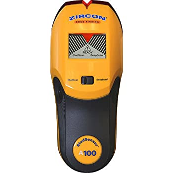 "Zircon Stud Finder DIY/Pro StudSensor A100 Wall Scanner; StudScan Detects Edges of Wood/Metal Studs at 3/4"" DeepScan Detects Wood/Metal to 1 1/2"" Alerts ..."
