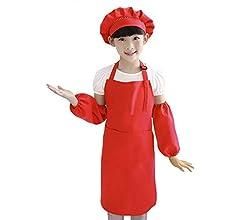 IPENNY Kindersch/ürze f/ür M/ädchen oder Jungen Kochsch/ürze /Ärmellossch/ürze mit Hut und /Ärmelschoner auch gut als Malsch/ürze