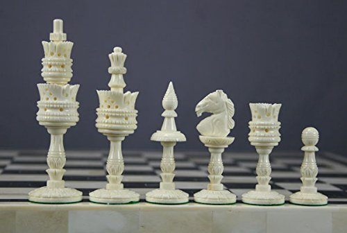 Chess Set Game Bone Buffalo 32 Pieces Hand carved