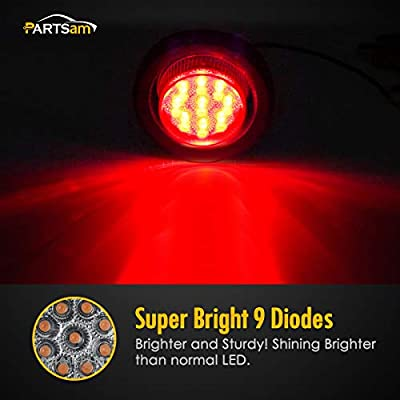 """Partsam 20Pcs 2"""" Round Red Trailer Truck LED Clearance and Side Marker Rear Lights 9 Diodes Clear Lens Sealed with Reflectors, 2 inch round led trailer lights clear, 2 inch round led marker lights: Automotive"""