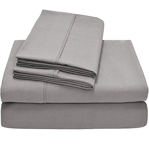 Twin XL Sheet Set, Twin Extra Long, 3-Piece Ultra-Soft Premium Bed Sheets/Light Gray