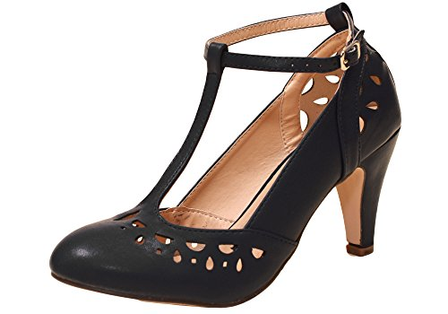 Chase & Chloe Kimmy-36 Women's Teardrop Cut Out T-Strap Mid Heel Dress Pumps-K 52 Black-8 (Chloe Black Shoes)
