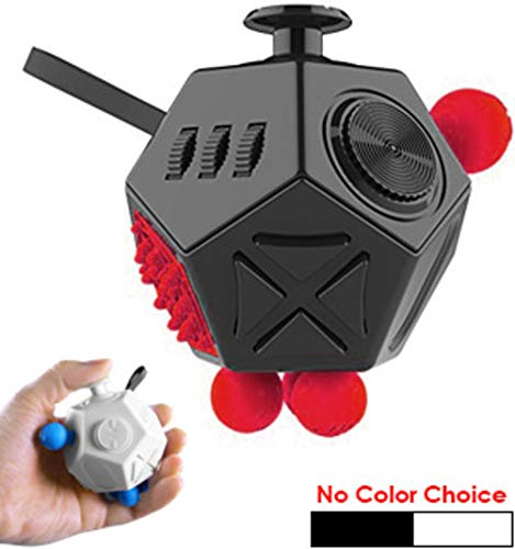 (12 Sided Stress-Reliever Fidget Cube Fidget Dice Fidgeting Toys Stress Anxiety Reliever Great for ADD ADHD OCD Autism for Adults and Children Comes in Either White or Black (No Choice Available))
