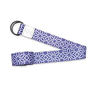 The Yoga Strap by YOGA DESIGN LAB | Luxurious, Extra Long, Super Soft, Eco Printed | Designed in Bali | Studio Quality, Adjustable | Safely Stretch Further and Hold Longer | 240cm Long (Floral Flow)