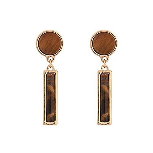 (uPrimor Gold Plated Natural Tiger's Eye Gemstone Earrings with Round & Rectangle Shaped Stones, 45mm long)