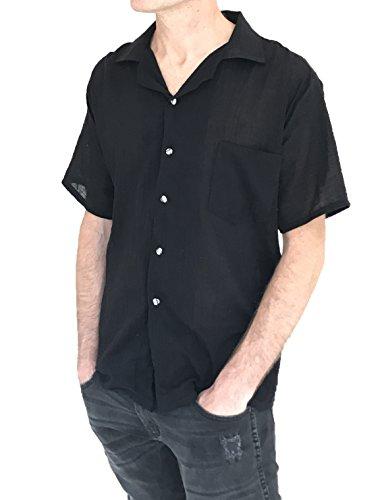 Black Weight Cotton Button Hippie