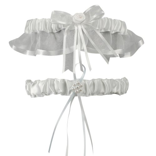 Beverly Clark Wedding Infinity Collection Garter Set, White ()