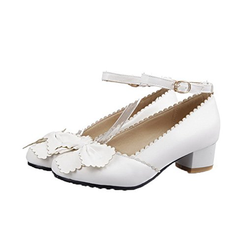 Amoonyfashion Femmes Boucle Talons Bas Pu Chaussures À Bout Pointu-chaussures Blanches