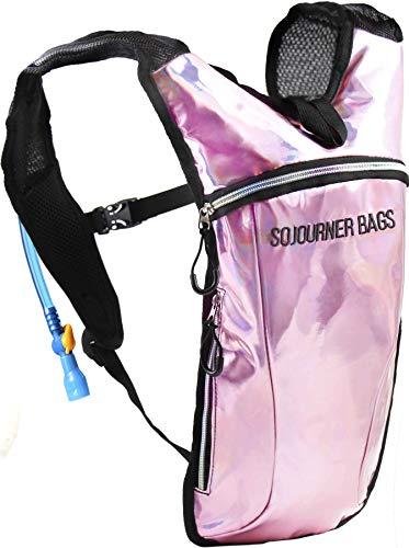 Sojourner Hydration Pack Backpack - 2L Water Bladder Included for Festivals, Raves, Hiking, Biking, Climbing, Running and More (Holographic - Pale Pink)