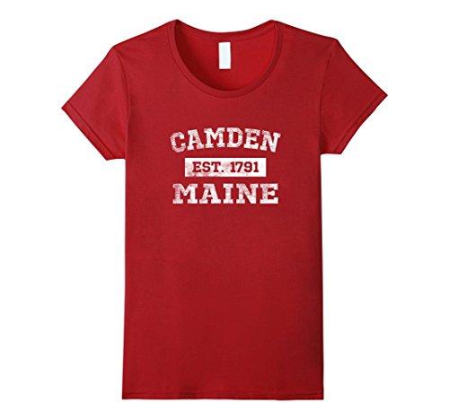 Womens Camden Maine T Shirt Est  1791 Distressed Xl Cranberry