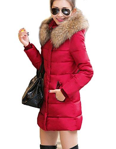 Capuche MILEEO Blouson Uni artificiel Fourrure longue Femme Rouge Veste Hiver Manteau Parka x7x0gA