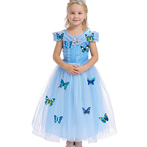 Halloween Costumes With A Blue Dress (Abroda Girls Party Outfit Butterfly Fancy Dress Snow Queen Princess Halloween Costumes Cosplay Dress LTLF003_XL)
