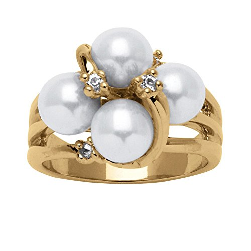 Palm Pearl Ring (Palm Beach Jewelry White Simulated Pearl and Austrian Crystal Accent 14k Yellow Gold-Plated Ring (6.5mm) Size 10)