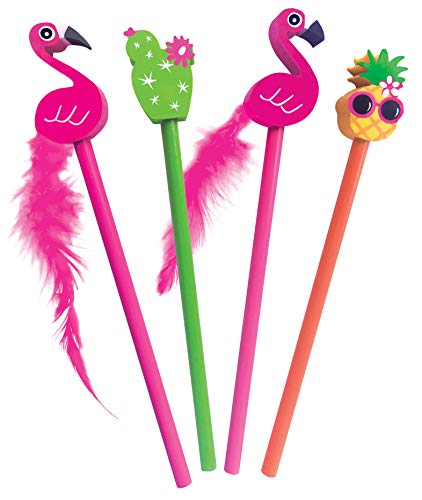 The Piggy Story 'Flamingo Fling' Set of 4 Pencils with Die-Cut Eraser Toppers