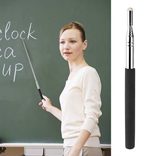 CosCosX 2 Pcs Telescopic Teachers Pointer Stick,Teaching Pointer,Extendable Retractable Hand Pointers Handheld Presenter Classroom Whiteboard Pointer,Black by CoscosX