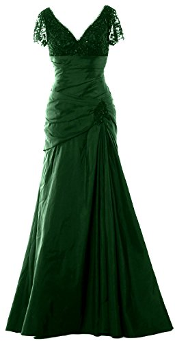 MACloth Women Cap Sleeves V Neck Lace Long Mother of Bride Dress Evening Gown (26w, Dark Green)