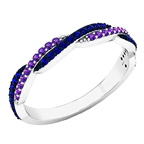 10K White Gold Round Amethyst & Blue Sapphire Ladies Wedding Swirl Stackable Band (Size 6) ()
