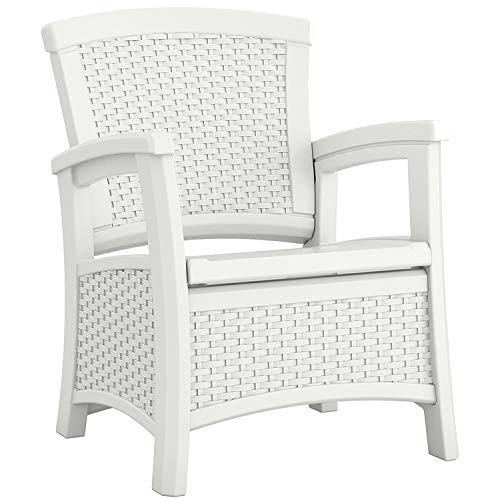 Suncast Elements Club Chair with Storage – Lightweight, Resin, All-Weather Outdoor Storage Chair – Built in Storage Capacity up to 11 lbs. – White