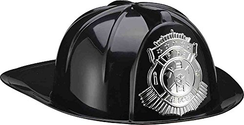 Fireman Costumes Adults (Fireman's Helmet Deluxe (Black) Adult Accessory)