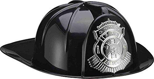 Forum Novelties Men's Deluxe Fireman's Helmet, Black, (Fireman Helmet Costume)