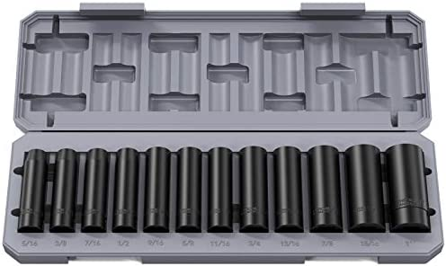 "Papasbox 1/2"" 6-Point Impact Socket Set 12pcs, Standard SAE Drive Deep Cr-V Steel Impact Socket 5/16""-1"" inch Drive Impact Socket Set"