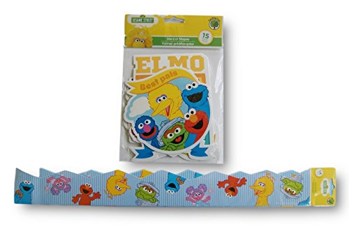 Sesame Street Nursery Schoolroom Decor - Die-Cut Cutouts and Wall Border Set (Die Cut Wall Border)