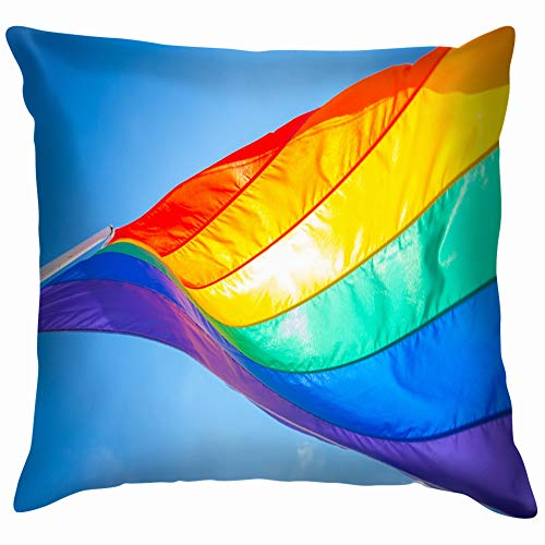 Rainbow Flag On Gay Beach Miami Cotton Throw Pillow Case Cushion Cover Home Office Decorative, Square 16X16 Inch -