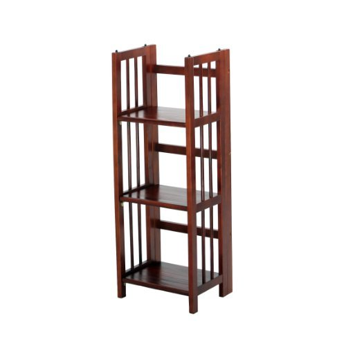 Casual Home 3-Shelf Folding Stackable Bookcase, 14-Inch Wide, Walnut by Casual Home
