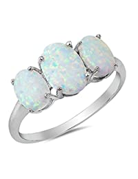 CHOOSE YOUR COLOR Sterling Silver Triple Oval Ring