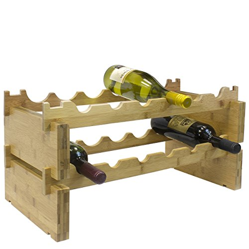 Sorbus 2-Tier Stackable Bamboo Wine Rack— Classic Style Wine Racks for Bottles— Perfect for Bar, Wine Cellar, Basement, Cabinet, Pantry, etc.—Holds 12 Bottles (2-Tier, Natural) by Sorbus (Image #4)