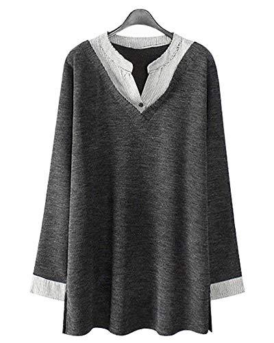 HIUPEB Women's Plus Size Long Sleeve Blouses V Neck Striped Patchwork Midi Shirts Loose Tunic Tops S-2X