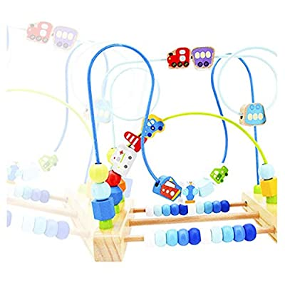 Maze Toy Wooden Roller Coaster Children's Slide Beads Training Children to Develop The Ability to Count Grasp (Bule): Toys & Games