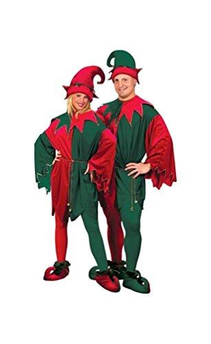Elf Velvet deluxe Costume - Adult Costume (Gold Jester Shoes)