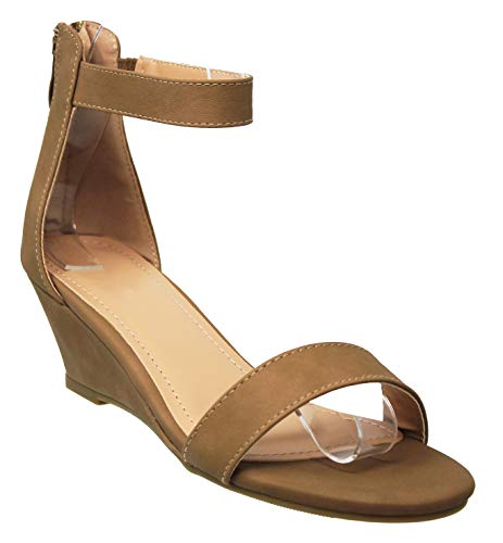 MVE Shoes Women's Open Toe Back Zipper Single Strap Low Heel Wedge Sandal, Joana-5 TAN 9