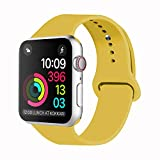 Idon Sport Watch Band, Soft Silicone Replacement Sports Band Compatible with Apple Watch Band 2018 Series 4/3/2/1 38MM 40MM 42MM 127MM for Apple Watch All Models(Yellow, 42MM M/L)