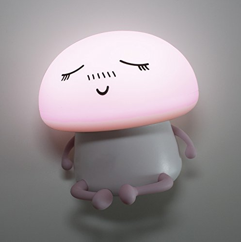 LuxLumi Silicone Emoji Mushroom Buddy LED Touch Nightlight is Dimmable, Portable, Rechargeable or Battery Powered for Toddlers, Children, Kids, Teens, or Nursery (Meditating Pink (Rechargeable)) by LuxLumi