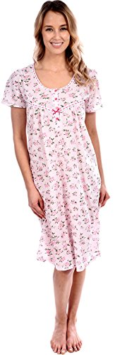 Pink Lady Women's Cotton Floral Knit Short Nightgown Pink Medium
