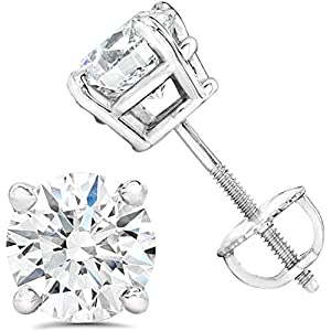 AGS Certified (Near Colorless SI2-I1) 1/5ct TW to 2.00ct TW Natural Diamond Stud Earrings Set in 14K Gold with Screw…