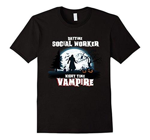 Jack Black School Of Rock Costume (Mens Social Worker Vampire By Night Halloween Costume Shirt Medium Black)