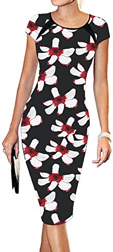 LunaJany Women's Floral Print Sexy Wear to Work Office Career Sheath Midi Dress L red
