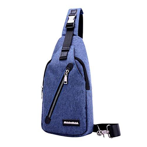 bolso Azul lona ocasional Cruz la Mochila de Satchel Bolsos del Hombro al Bag libre Wewod cuerpo Mochila múltiples aire los hombres de Pecho funciones recorrido del de del Sv0qwpn6