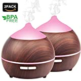 Mulcolor Essential Oil Diffuser, 2Pack 250ml Aromatherapy Diffuser for Essential Oils, Aroma Oil Diffuser Humidifier, Ultrasonic Diffuser Wood Grain, Waterless Auto Shut off, 7 Colors Light