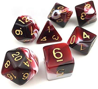 FLASHOWL Dados poliédricos Juegos de Mesa Juegos de Mesa Dados 1 Juegos de Dados con Bolsas Negras Serie de D20, D12, D10, D8, D6, D6, D4 DNG RPG MTG Colores Dobles para