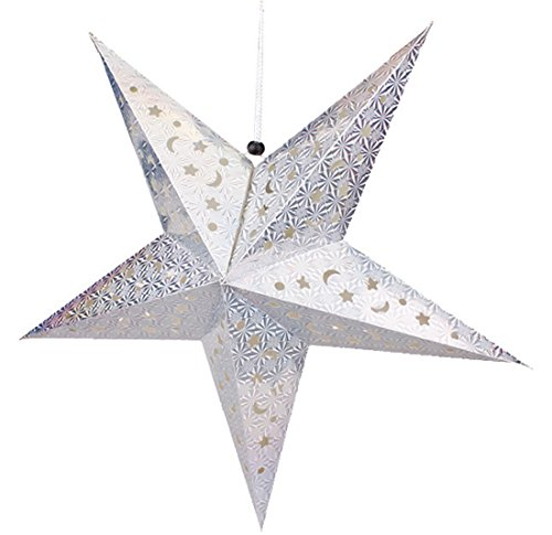 YueLian 3D Silver Paper Star Lanterns Lamp Shade